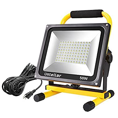 Ustellar 4500LM 50W LED Work Light (400W Equivalent), 2 Brightness Levels, Waterproof Flood Lights, 16ft/5M Wire with Plug, Stand Working Lights for Workshop, Construction Site, 6000K Daylight White