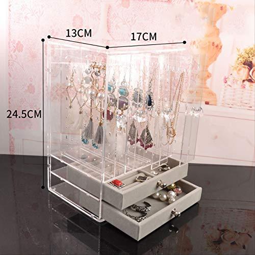 Preisvergleich Produktbild Zhaoyan Schmuckschatulle für Ohrringe,  Schmuck,  Halskette,  große Kapazität,  33 x 43 x 24, 5 cm,  Weiß
