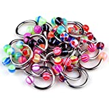 Yantu 50 Pcs 18g Ball Circulars Horseshoes Eyebrow Lip Belly Rings Body Piercing Jewelry Unisex