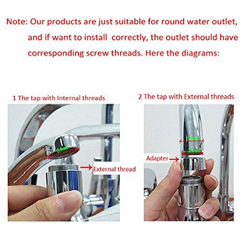 2 Packung Bunte LED Wasser Wasserhahn mit 3 Farben wechseln Temperaturkontrolle, FLYING RC-F03 Wasser-Wasserhahn-Hahn Für Küche und Badezimmer. - 5