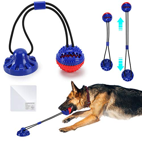 MKPOW Dog Chew Toys with Powerful Suction Cup,Interactive Dog Rope Toys for Aggressive Chewers,Tug of War Toy with Elastic Rope,Dog Squeaky Toy Balls for Teeth Cleaning and Food Dispensing