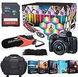 Canon EOS M50 Mirrorless Digital Camera Professional Photo & Video Editing Software Vlogging Kit with 15-45mm Lens + Commander Optics Mic (Black)