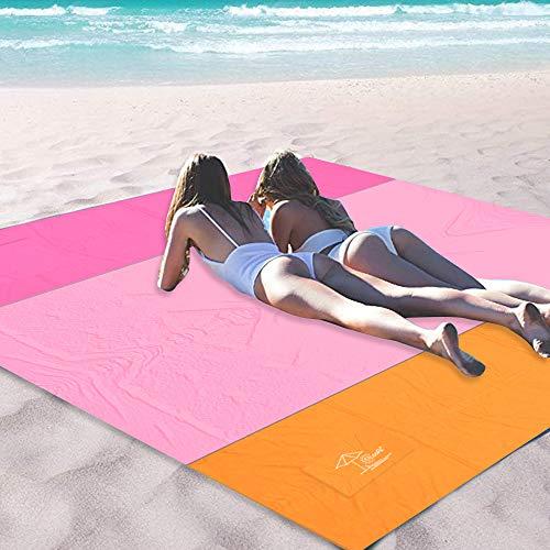 OCOOPA 200 x 200 cm XL Stranddecke, Sandfreie Picknickdecke Campingdecke Strandtuch, aus Weiches Nylon mit Tasche, Wasserdicht, Schnell Trocknend, Ultraleicht, Tragbar, Rosa