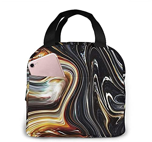 Abstract Marble Ink Texture Lunch Bag Tote Bag Lunch Box Insulated Lunch Container for Woman Man