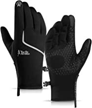 Winter Gloves for Men and Women- Touch Screen Gloves Waterproof Anti-Slip Silicone Thermal Gloves with Polar Fleece and Po...