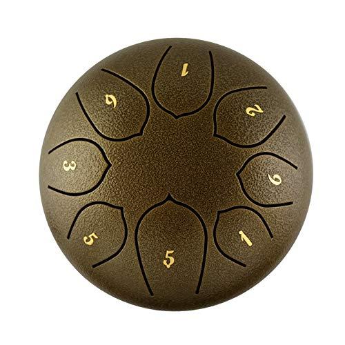 CMAO Sechs Zoll Stahl Zunge Trommel, Miniachtelnote ätherisch Trommel mit Trommel und Drumstick Taschen leicht zu erlernen,Bronze