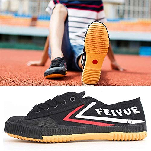 YURU Zapatos De Artes Marciales Zapatillas De Deporte De Tai-Chi Unisex Zapatillas De Kung Fu Clásicas Zapatillas De Qigong Antideslizantes De Moda para Adultos Y Niños,Black-35
