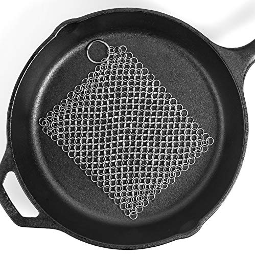 """Ationgle 8""""x6"""" Stainless Steel Cast Iron Cleaner 316L Chainmail Scrubber for Cast Iron Pan Pre-Seasoned Pan Dutch Ovens Waffle Iron Pans…"""