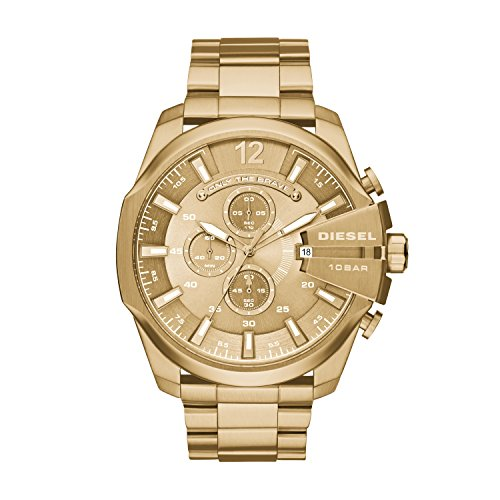 Diesel Men's Mega Chief Quartz Stainless Steel Chronograph Watch, Color: Gold (Model: DZ4360)