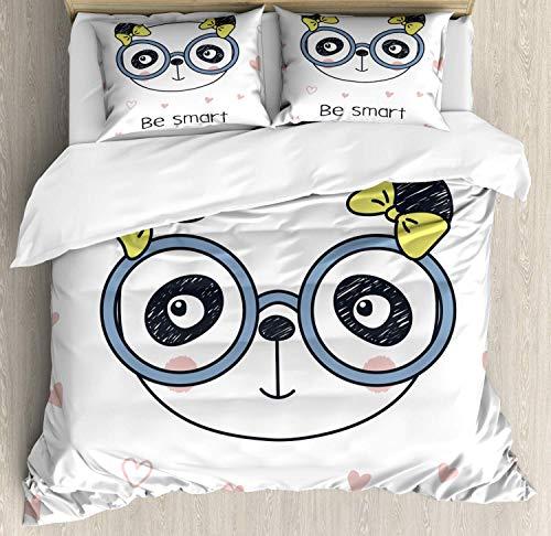 Juego de Funda nórdica Geek, Doodle Panda Dibujado a Mano con Gafas sobre Fondo Blanco con Forma de corazón, Juego de Cama Decorativo de 3 Piezas con 2 Fundas de Almohada, Azul Pizarra