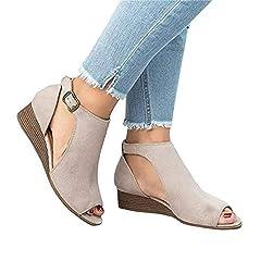 e5a815c22b4 Womens Open Toe Ankle Strap Cutout Double Buckle Zipper Back .