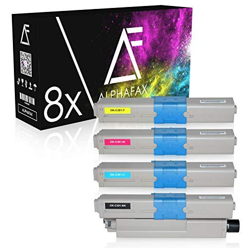 8 Toner kompatibel zu Oki C301, C321DN, C301DN, MC332DN, MC342DN, MC342DNW, MC340 Series - Schwarz je 2.200 Seiten, Color je 1.500 Seiten