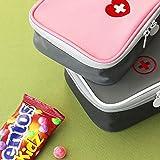 Deer Platz Medikament Tasche, Tragbare Mini Erste-Hilfe Sets, Leer Reiseapotheke Tasche, für Outdoor Sports Home Camping Wandern (Pink + Gray) - 6