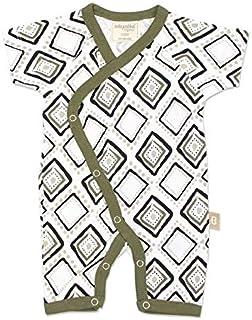 Babyushka Organic Long Sleeve Kimono Romper, Olive, 000