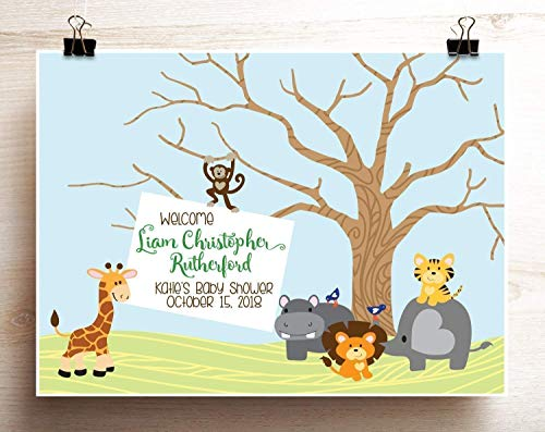 Jungle Baby Shower Guest Book Alternative Thumbprint Tree Print with Animals Giraffe Elephant Monkey