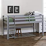 Walker Edison Della Classic Solid Wood Twin over Wood Loft Bunk Bed, Twin Size, Grey