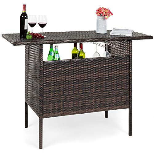 Best Choice Products Outdoor Patio Wicker Bar Counter Table Backyard Furniture w/ 2 Steel Shelves and 2 Sets of Rails - Brown