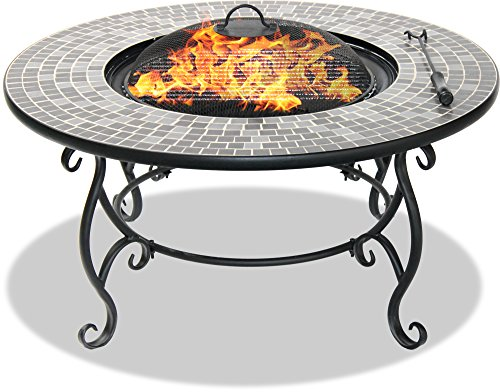 Centurion Supports Fireology GINESSA Sumptuous Garden & Patio Heater Fire Pit Brazier, Coffee Table, Barbecue and Ice Bucket with Mosaic Ceramic Tiles