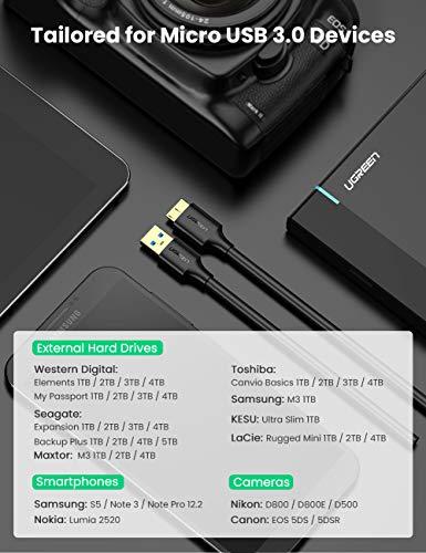 UGREEN Micro USB 3.0 Datenkabel 5Gbps Festplattenkabel für Externe Festplatten Western Digital My Passport, Toshiba Canvio Basics, Maxtor usw.(0.5m)