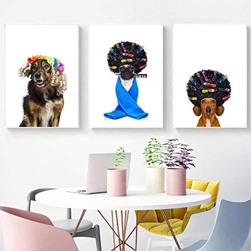xwwnzdq 3 Unidades Pug Dog con Pelo Carteles e Impresiones Perro Divertido Arte de la Pared Pintura de la Lona Peluquería Regalo para la Oficina Decoración para el hogar 40x60 cm Sin Marco