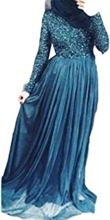 neveraway Women's Muslim Arab Shiny Slim Fitted Islamic Long Sleeve Kaftan Dress