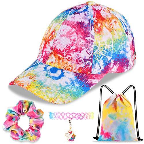 Rainbow Tie-Dye Baseball Cap Dad Cap Unicorn Girls Gift Set for Outdoor Sports