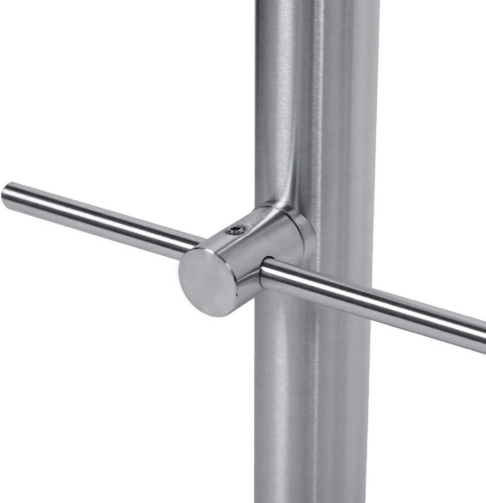 Bannister Stair Railing Handrail Rail Bar for Staircase 100 x 102.5cm Two Cross Bar Stainless Steel Handrail