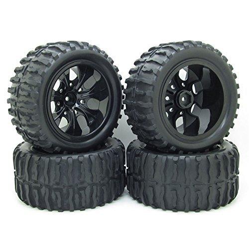 Rc 1/10 Truck Off-Road Car Rubber Tires + 7 Spokes Wheel Rim Black Rc Car Parts Pack of 4