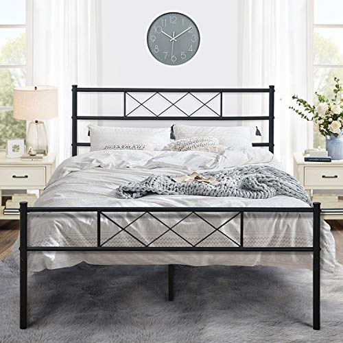 VECELO Metal Platform Bed Frame Mattress Foundation with Headboard & Footboard/Firm Support & Easy Set up Structure, Full, Black