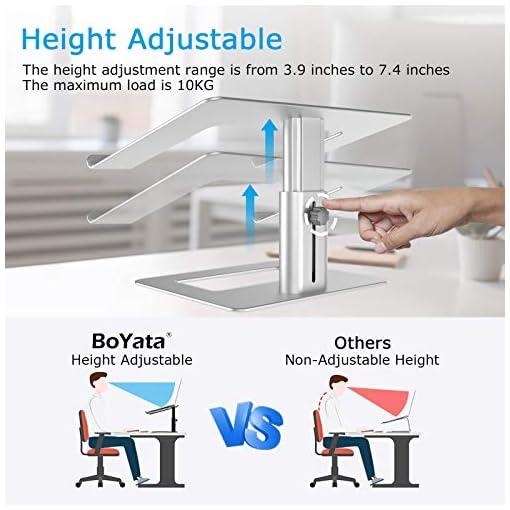 BoYata Soporte para portátil ventilado de altura ajustable, soporte para portátil compatible con MacBook Pro / Air de 10… 2