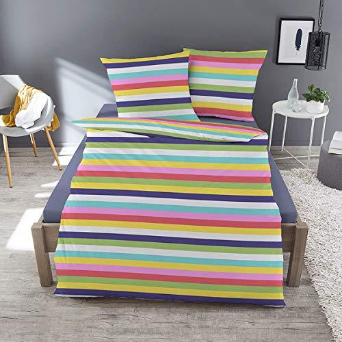 Traumschlaf Feinbiber Bettwäsche Rainbow 1 Bettbezug 135x200 cm + 1 Kissenbezug 80x80 cm
