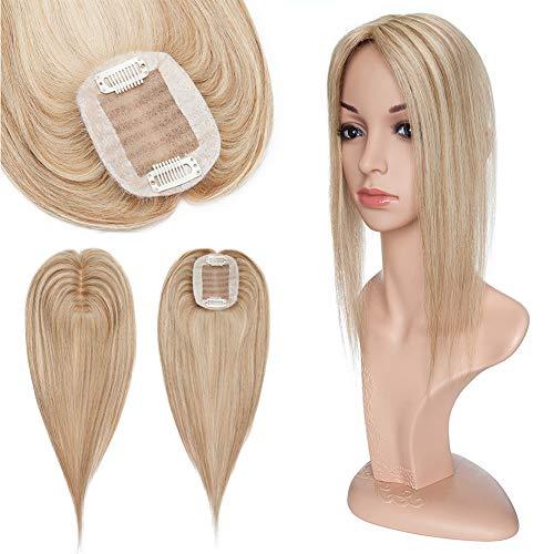 Elailite Hair Topper Mujer Clip Prótesis Capilares Frontal Extensiones Pelo Natural Cabello Humano Postizo Human Hair Topper Toupee Encaje 6cm*9cm 15cm #12P613 Castaño Dorado Balayage Rubio Muy Claro