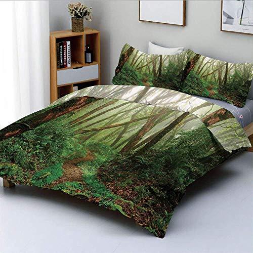 Set copripiumino, giungla di nebbia esotica tropicale spettrale nella foresta pluviale in Nepal Stampa di immagini del clima asiatico Set di 3 pezzi decorativo con 2 fodere per cuscini, verde marrone,