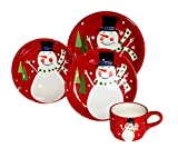 SALE! Christmas Snowman, Hand Painted Ceramic 16pc Dinnerware Set, 87216 by ACK