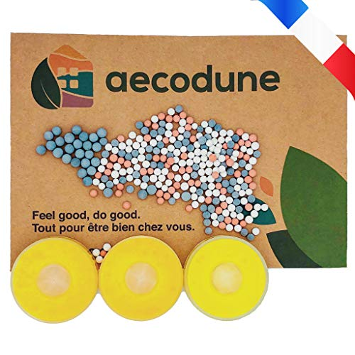 Aecodune Premium Vitamin C Shower Head Refill - Hard Water and Chlorine Filter - Your Spa at Home - Softener Kit - Shower Balls with Negative Ions - Aroma Blocks in Lemon x3
