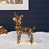 "Lights4fun, Inc. 23.5"" Rattan Fawn Reindeer LED Christmas Light Up Figures Decoration for Indoor Outdoor Use"