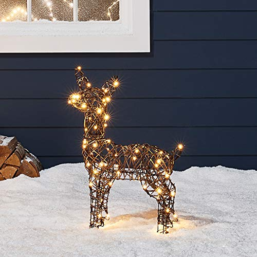 Lights4fun, Inc. 23.5' Rattan Fawn Reindeer LED Christmas Light Up Figures Decoration for Indoor Outdoor Use