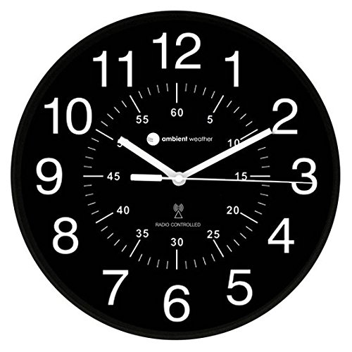 Ambient Weather Atomic Radio Controlled Wall Clock Minute RC-1200BWDN, Black/White/Inner Markers