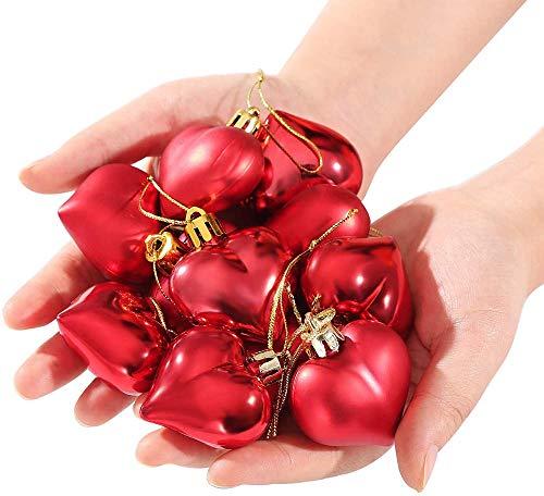 Elxf 24 bolas de San Valentín en forma de corazón con forma de corazón para colgar, 6 estilos, decoración para ventanas de árbol de casa, color rojo, rosa, plata, con forma de corazón, 24 unidades