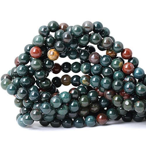 Qiwan 45PCS 8mm Natural Bloodstone Gemstone Smooth Round Loose Beads for Jewelry Making DIY Crafts Design Healing 1 Strand 15""