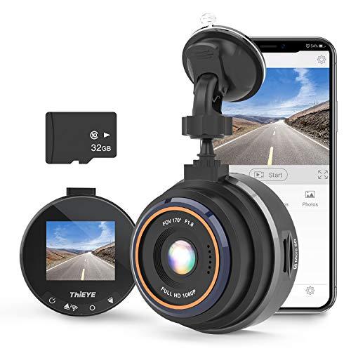 ThiEYE Dashcam WiFi Auto Kamera 1080P Full HD mit 32G-Kart für Fahrzeuge Video Recorde mit 170 ° WDR Bewegungserkennung, Parkmonitor, Loop-Aufnahme, Nachtsicht,G-Sensor Safeel Zero+