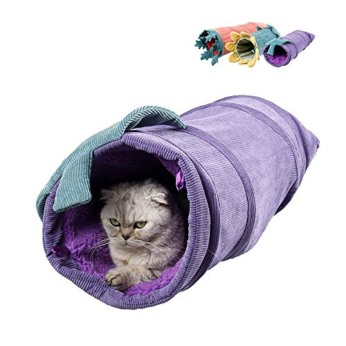 N-brand Túnel plegable de pana para gatos, forma de planta de gato, arena para gatos, juguetes calientes para mascotas, juguete interactivo para juegos en interiores
