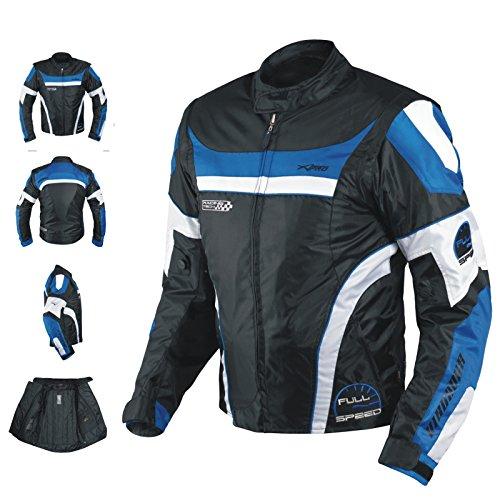 Blouson Oxford Nylon Homme Textile CE Protections Thermique Moto Bleu M