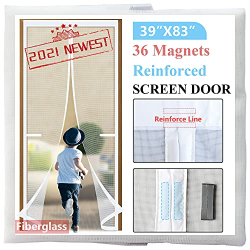 Door Screen Magnetic Closure 39x83,2021-Upgraded Version with 36 Longer Magnets,Retractable Door net for Front Doorway,Heavy Duty Fiberglass Mesh Door Curtain with Magnets,White