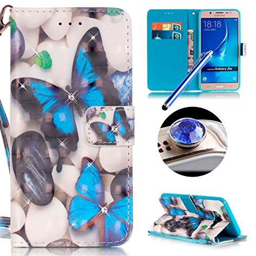 Samsung Galaxy J5(2016) Housse Coque de Téléphone, Etsue Cute Mode Colorful Design Flip Housse PU Cuir Coque Stand Housse de Protection pour Samsung Galaxy J5(2016),Coque est Bookstyle Folio Motif [Bleu de papillon] et Cristal Cloutés pour Samsung Galaxy J5(2016) Joindre 1 x Corde + 1 x Bleu stylet + 1 x Bling poussière plug (couleurs aléatoires)