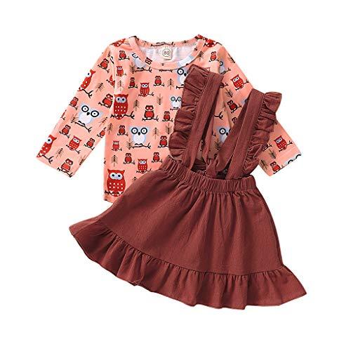 Moneycom❤T-Shirt de Dessin animé à Manches Longues pour Tout-Petit bébé Fille + Jupes Jarretelles Tenues Rose(6-12 Mois)