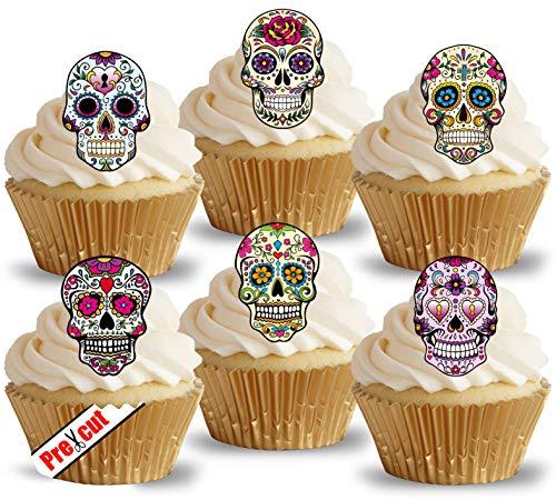 Calavera-Schädel Cupcake-Dekoration, vorgeschnitten, essbares Reispapier, Cupcake- und Tortentopper, Halloweendeko, für Geburtstage und Partys