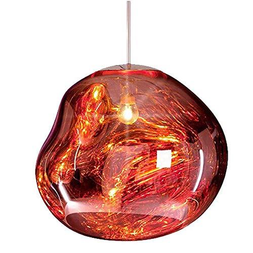 Modernes Unregelmäßige Glas Shade Pendelleuchte Nordic Mehrfarbiges E27 Pendelleuchte Für Heim Dekorative Restaurant-Bar Café, Wohnaccessoires,Rot