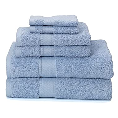 700 GSM Premium Bath Towels Set of 6 (2 Bath Towels 30  X 52 , 2 Hand Towels 16  X 28  and 2 Washcloths 12  X 12 ) - 100% Cotton, Super Soft, Ultra Absorbent (Blue)