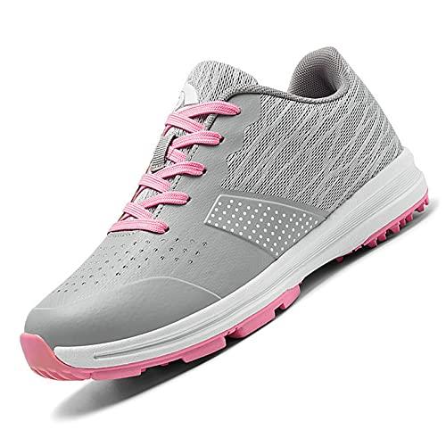 Golfschoenen voor heren,waterdichte Golf Shoes Men Outdoor antislip Ademende slijtvaste spijkervrije zachte bodem dames golfschoenen - sneakers,Roze,38